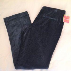 Isaac Mizrahi Velour Slacks Size 8R NWT Black